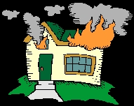 Cartoon house fire