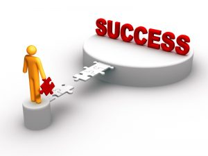 Man walking toward success