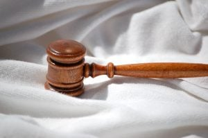 Gavel on silk background