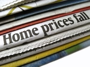 Newspapres with House prices fall headline