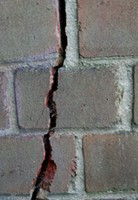 subsidence crack in brick wall