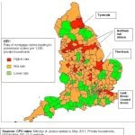 Repossession map of the England