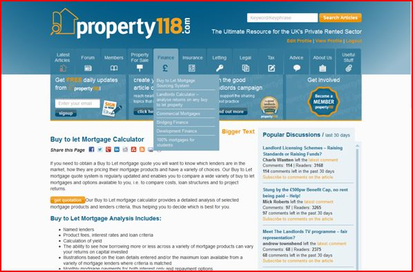 Buy to Let mortgage tab