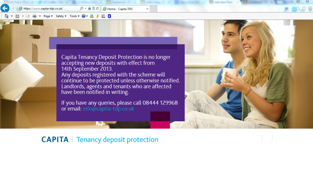 Has Capita thrown in the towel on Tenancy Deposit Protection?