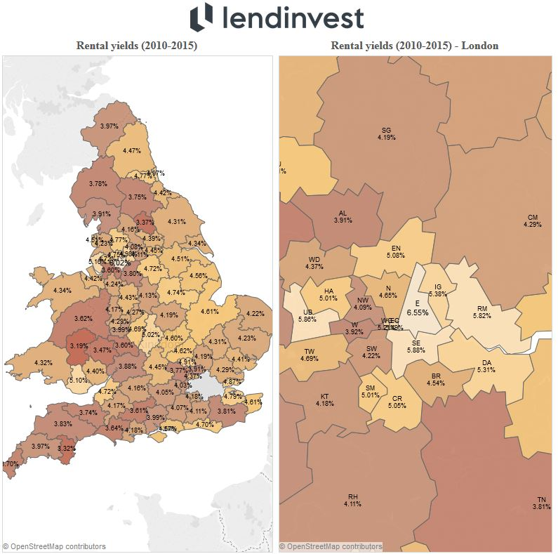 Maps of BTL returns in England and Wales for 2010-2015