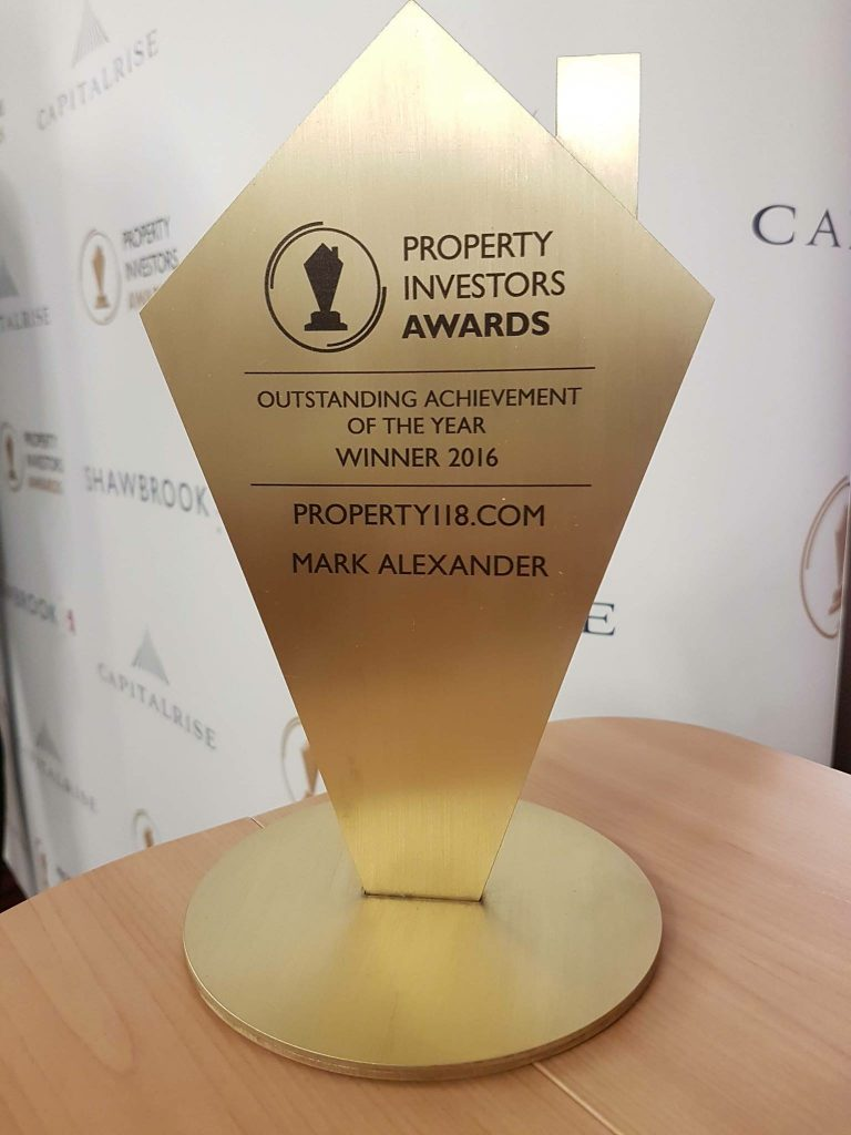 Property118 Win Outstanding Achievement of the Year 2016 at the Property Investor Awards