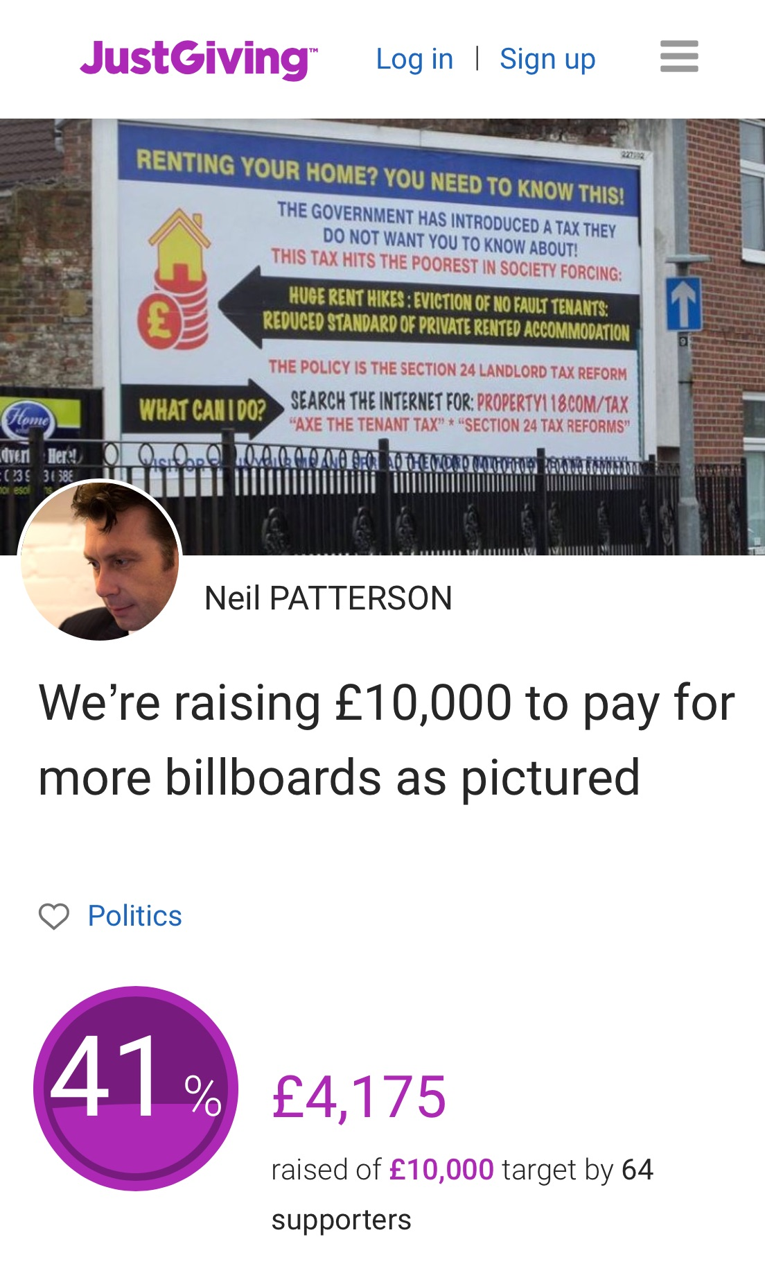 """BILLBOARDS UPDATE """"Just Giving"""" campaign raises over £4,000 in just a few days"""