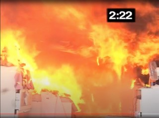 A tiny flame to a raging 800 Celsius inferno in less than three minutes!